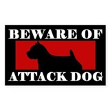 Beware of Attack Dog Norwich Terrier Decal