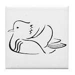 Stylized Mandarin Duck Tile Coaster