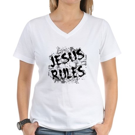 Jesus Rules Women's V-Neck T-Shirt