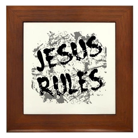 Jesus Rules Framed Tile