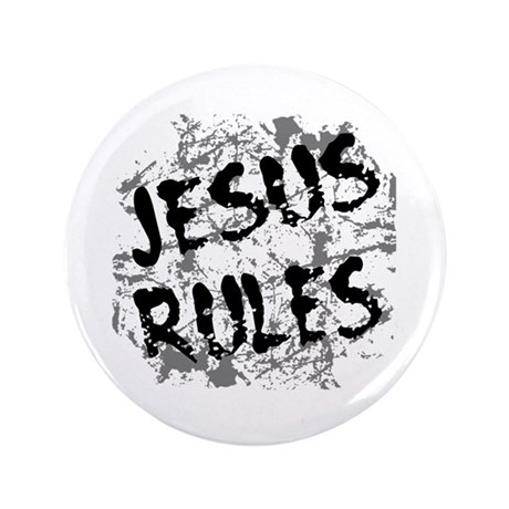 "Jesus Rules 3.5"" Button (100 pack)"