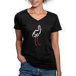 Stylized Stork Women's V-Neck Dark T-Shirt