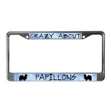 Crazy About Papillons License Plate Frame
