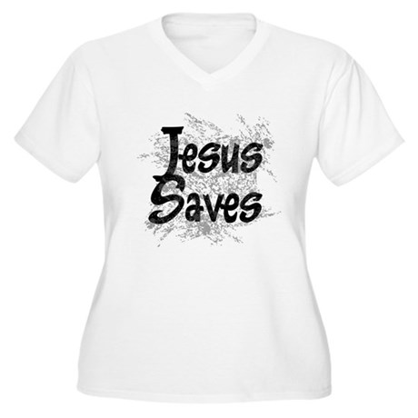 Jesus Saves Women's Plus Size V-Neck T-Shirt