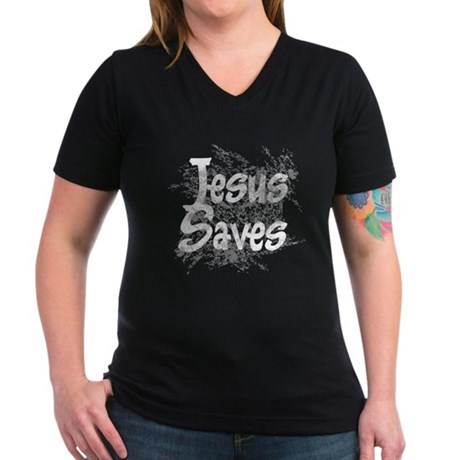 Jesus Saves Women's V-Neck Dark T-Shirt