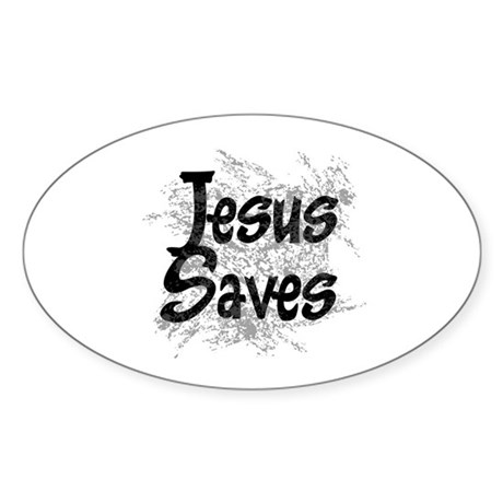 Jesus Saves Oval Sticker (10 pk)