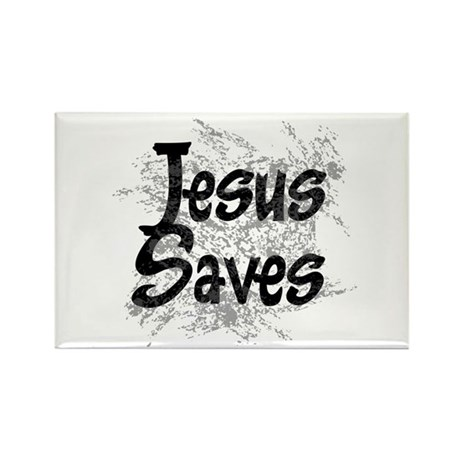 Jesus Saves Rectangle Magnet