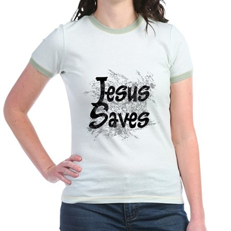 Jesus Saves Jr. Ringer T-Shirt