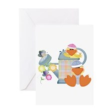 Cute Garden Time Baby Ducks Greeting Card