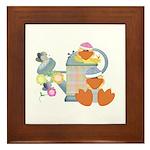 Cute Garden Time Baby Ducks Framed Tile