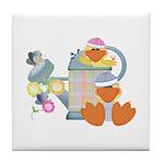 Cute Garden Time Baby Ducks Tile Coaster