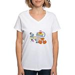 Cute Garden Time Baby Ducks Women's V-Neck T-Shirt