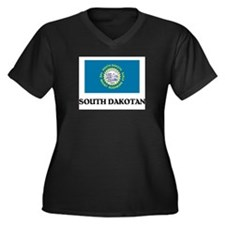 South Dakotan Women's Plus Size V-Neck Dark T-Shir