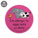 "Eggs nuts & dairy-pink 3.5"" Button (10 pa"