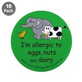 "Eggs, nuts and dairy 3.5"" Button (10 pack)"