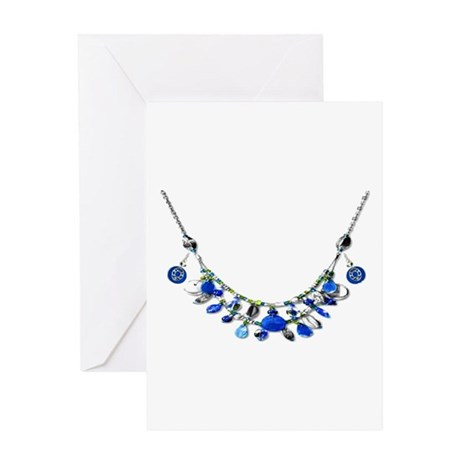 Blue and Yellow Necklaces Greeting Card