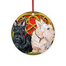 Scottish Terriers Wheaten Cel Ornament (Round)