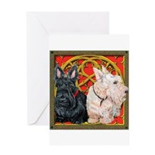 Scottish Terriers Wheaten Cel Greeting Card