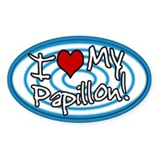 Hypno I Love My Papillon Oval Sticker (Blue)