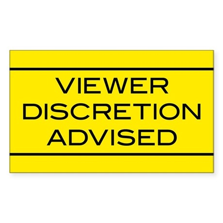 Viewer Discretion Advised Rectangle Sticker 50 pk