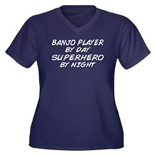 Banjo Player Superhero Women's Plus Size V-Neck Da