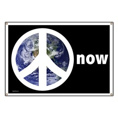 Peace On Earth Now Protest Banner