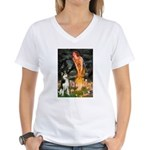 Mid.Eve / Siberian Husky Women's V-Neck T-Shirt
