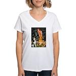 Mid.Eve / Siberian Husky Women's V-Neck T-Shirt