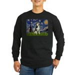 Starry Night & Husky Long Sleeve Dark T-Shirt