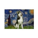 Starry Night & Husky Rectangle Magnet
