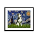 Starry Night & Husky Framed Panel Print