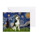Starry Night & Husky Greeting Card