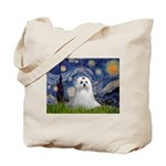 Starry Night & Maltese Tote Bag