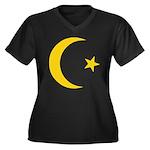 Anarchy Symbol Women's Plus Size V-Neck Dark T-Shi