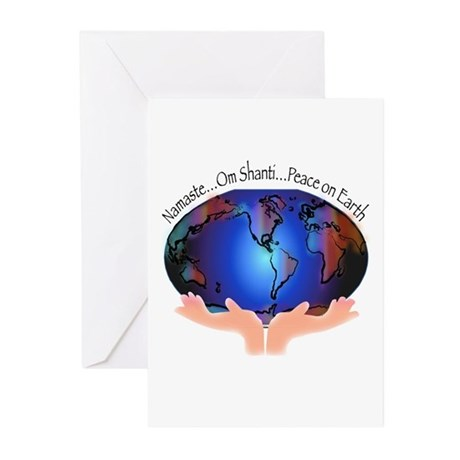 Om Shanti, Peace in the World Greeting Cards (Pk o