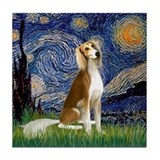 Starry Night &amp; Saluki Tile Coaster