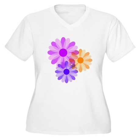 Flowers Women's Plus Size V-Neck T-Shirt
