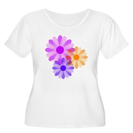 Flowers Women's Plus Size Scoop Neck T-Shirt