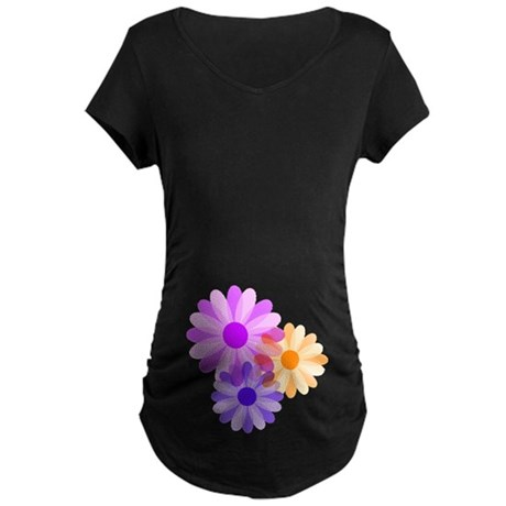 Flowers Maternity Dark T-Shirt
