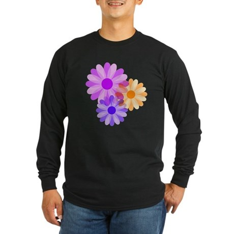 Flowers Long Sleeve Dark T-Shirt