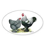 Dark Brahma Chickens Oval Sticker (10 pk)
