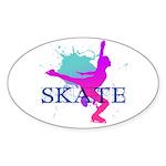 Ice Skating Oval Sticker (50 pk)