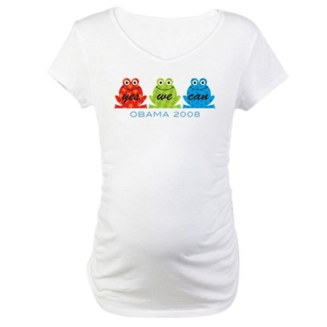 Obama Frogs Yes We Can Maternity T-Shirt