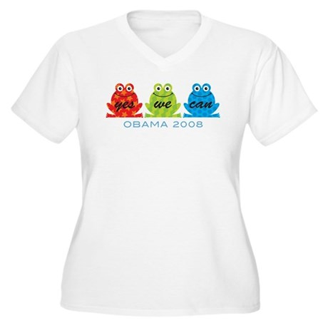 Obama Frogs Yes We Can Women's Plus Size V-Neck T-
