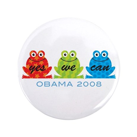 "Obama Frogs Yes We Can 3.5"" Button (100 pack)"