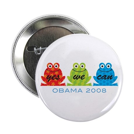 "Obama Frogs Yes We Can 2.25"" Button"