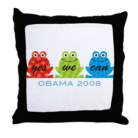 Obama Frogs Yes We Can Throw Pillow