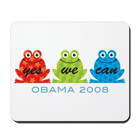Obama Frogs Yes We Can Mousepad