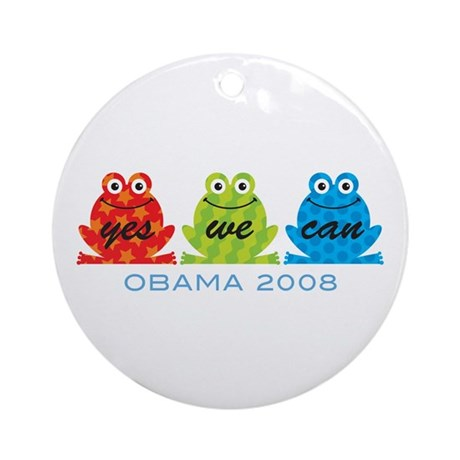 Obama Frogs Yes We Can Ornament (Round)