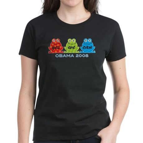 Obama Frogs Yes We Can Women's Dark T-Shirt